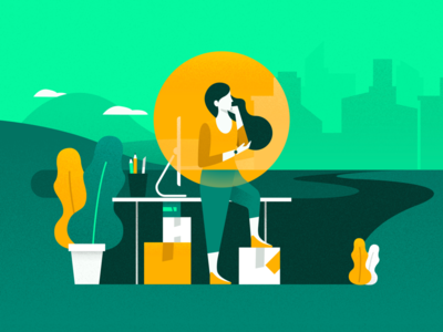 User Journey ( 1st Stage ) dark green yellow orange noise road journey user green illustration