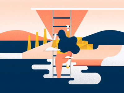 User Journey ( Stage 3 ) finish line clouds blue navy yellow orange noise road journey user pink illustration