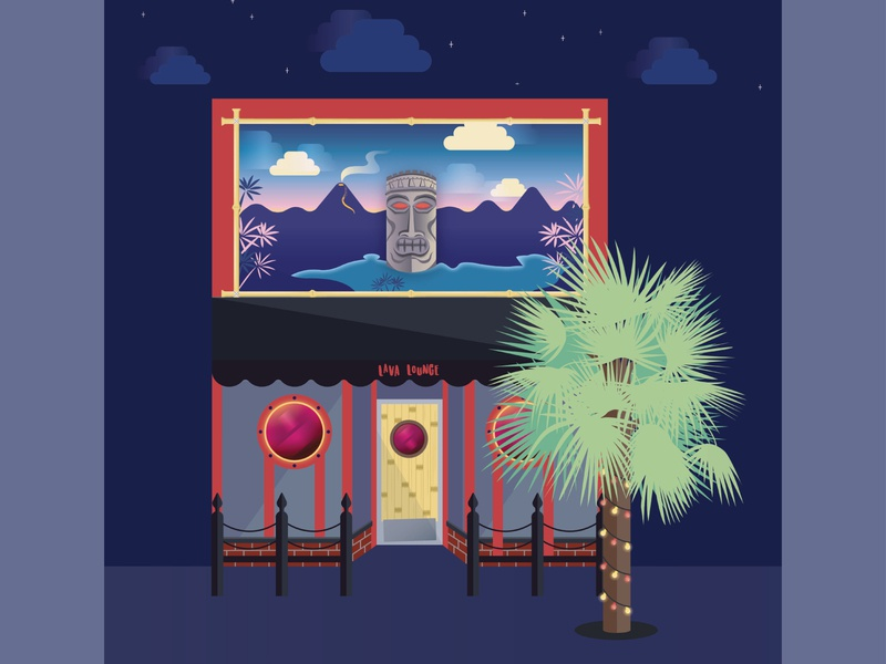 Lava Lounge Tiki Bar - Belltown, Seattle illustrator building cityscape flat vector illustration