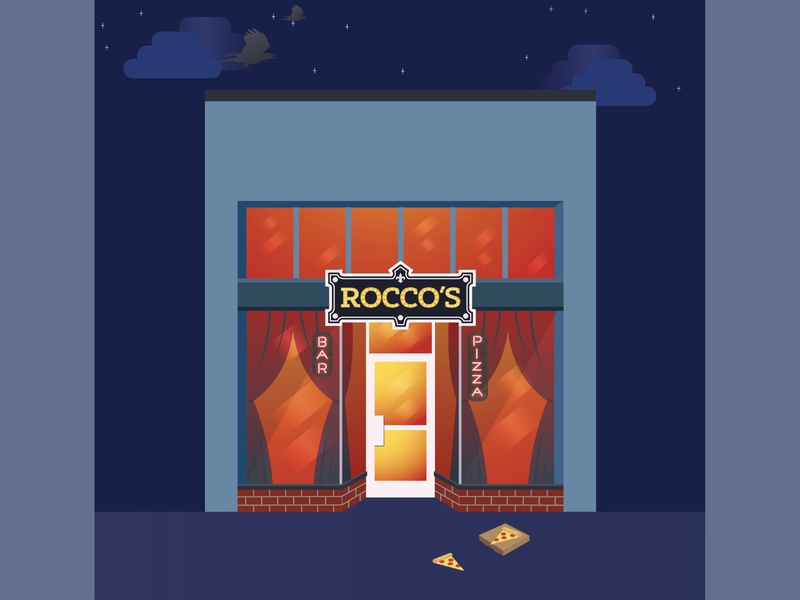 Rocco's Pizza - Belltown, Seattle cityscape building illustrator flat vector illustration