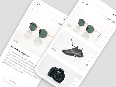 Shop Minim.al — Mock app for Flinto tutorials flinto space app prototype prototyping tool iphone x