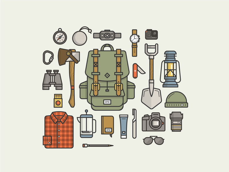 Camping Gear Essentials (Freebie) freebies outline free vector adventure icons freebie vector illustration file essentials gear camping illustrator ai download free