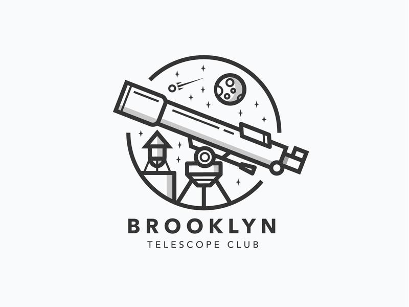 Brooklyn Telescope Club graphics design branding city patch astronomy space badge emblem logo new york brooklyn telescope line illustration