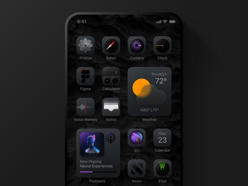 Dark Mode Reimagined redesigned reimagine weather photos safari homescreen phone ios14 black dark theme icon dark ui dark mode interface ui icons iphone apple ios dark