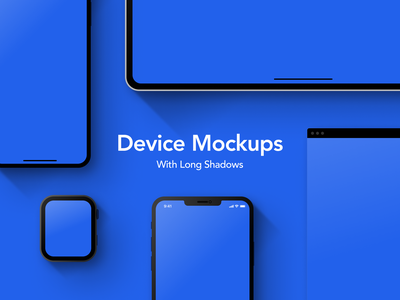 Device Mockups With Long Shadows (Free Resource) figma template display shadows long shadows free resource portfolio apple watch iphone ipad apple devices mockups