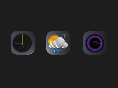 Dark One 3D Icons dark theme dark mode clock icon weather icon camera icon icon set camera weather clock 3d ui icon dark