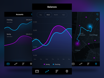 Neon Banking black chart graph money dark neon mobile app design fintech financial finance