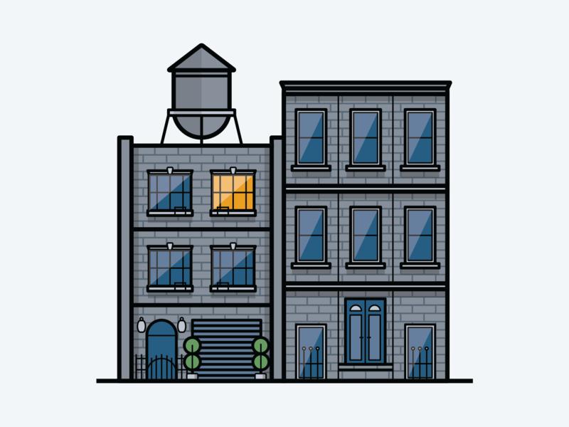 Brooklyn Dwellings stroke outline illustrator water tower digital drawing buildings home new york gowanus brooklyn illustration