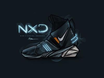 Nike x Digital Unknown electric digital painting ipad concept lights nike drawing illustration sketch procreate digital shoes shoe dark design