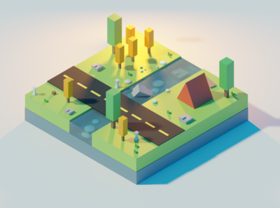 Isometric Landscape landscape isometric 3d blender
