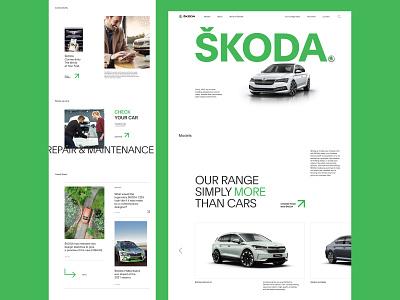 ŠKODA - home page interface tile trend home page new green minimalism web car redesign web concept uiux ux interactive website web design website design clean ui corporate ui