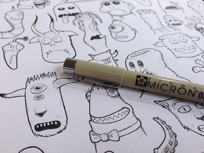 Monster Heads sketch drawing