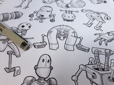 Robots sketch drawing