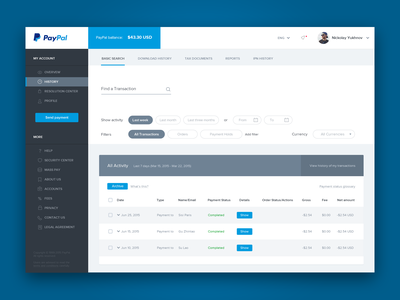 Paypal Redesign web interface paypal finance wireframes table dashboard ui ux