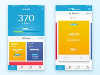 mPoints Mobile Rewards App Concept iphone application cards ios ux ui mobile