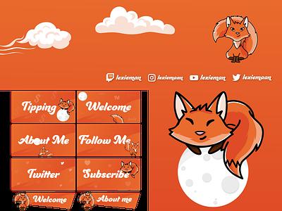 Twitch Assets vector branding illustration twitter socials banner emotes panels fox streaming streamer logo twitch