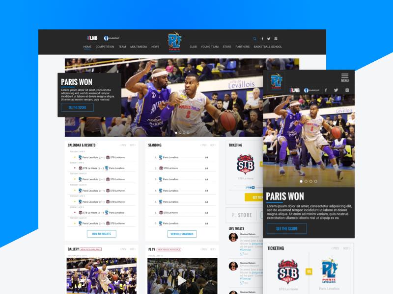 Paris Levallois home page magazine web ux ui responsive sports