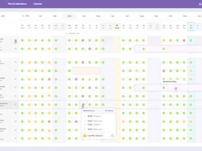 Employee time management check in clock in ux calendar calendar employee calendar employee time time management employee table
