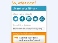 Social media buttons for Lambeth Library app