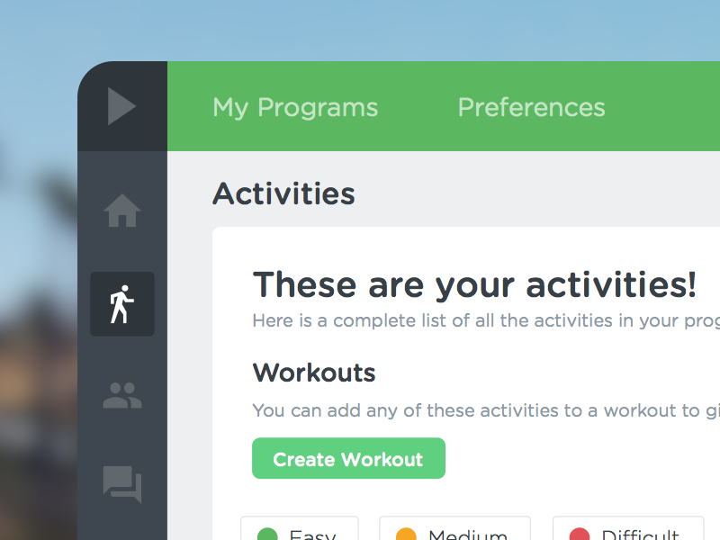 Workout Activity Library user interface admin interface dashboard web flat workout activity library search filter redesign startup
