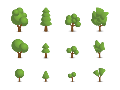 Trees icons set tree park illustration vector icon creativecommons ai download free project-m