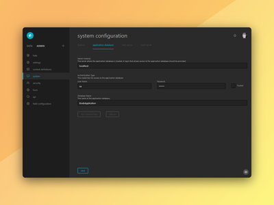 acQuire Neo settings clean light dark theme web app product design flat enterprise settings