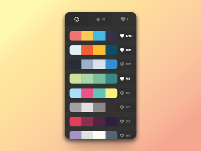Colour picker product design mobile dark clean flat colour picker
