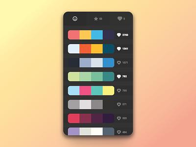 Colour picker product design mobile dark clean flat colour picker
