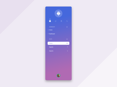 Menu explorations purple blue menu web app theme product design gradient flat enterprise clean