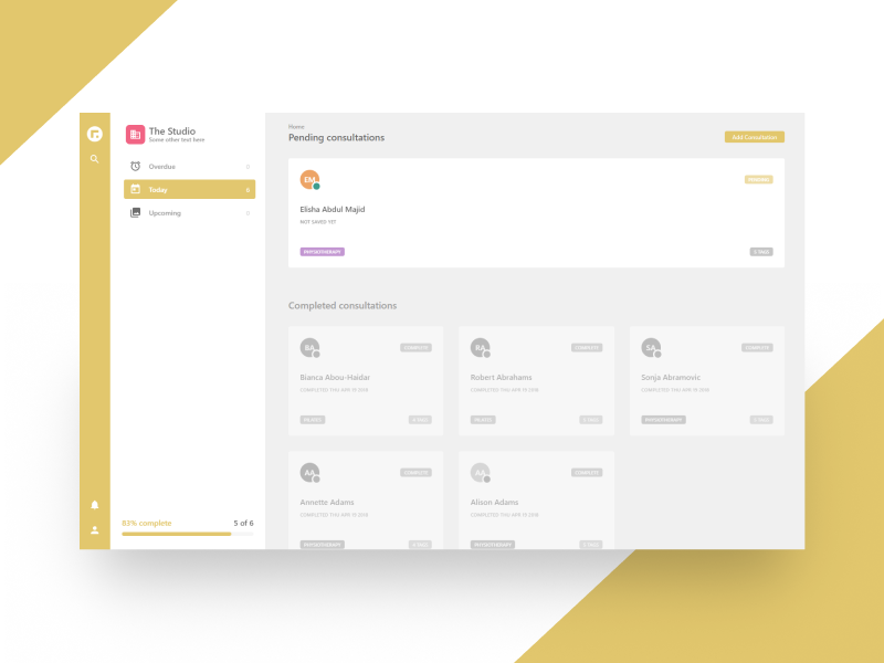 Canvas Dashboard WIP react web app product design flat enterprise yellow light clean dashboard