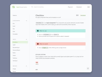Signal Documentation web app clean product design flat design system