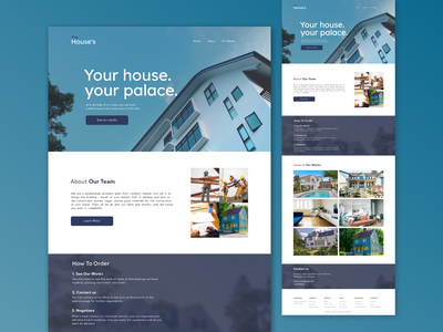 The House's - House Building Website application flat graphic design branding website web ux ui illustration design app