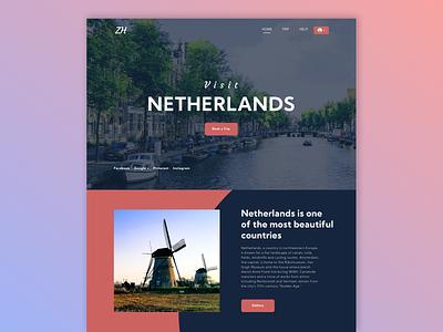 Visit Netherlands - Landing page exploration trip web design website design branding design websites branding application graphic design flat design app website web ux ui illustration