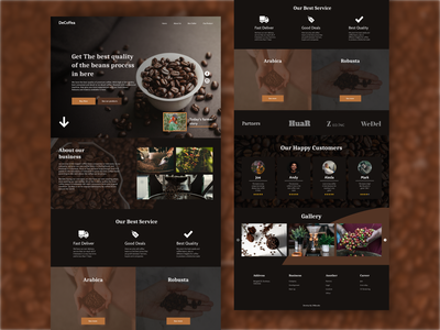 De Coffea - UI Web Design landing page web development coffee wordpress website concept website design web design figma branding application website web graphic design flat app ux ui