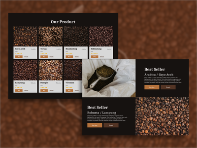 De Coffea Product Landing Page Website coffee flat design web design website design illustration branding application website web graphic design flat app ux ui