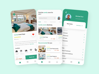 Comfy - Hotel Booking App booking travel hotel ios ui kit concept app