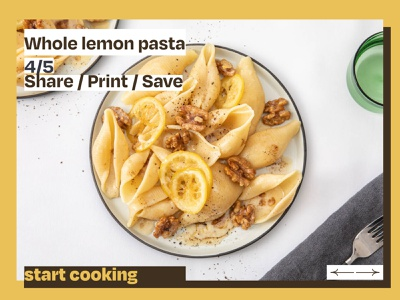 Recipe cover, brutal style interface design food pasta recipe yellow style ui