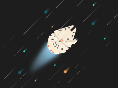 Chewie, let's get out of here light speed han solo millenium falcon star wars colors hyperspace planets illustration