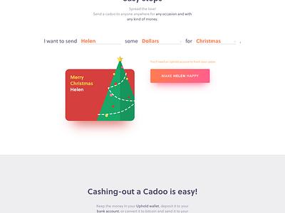 Cadoo Landing Page new year christmas birthday e-card shadow colors ui