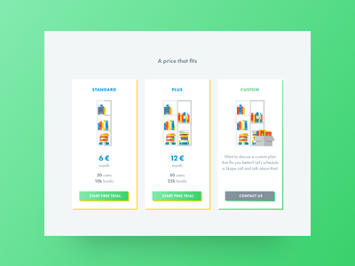 Shelf Pricing Plan ui shadow reading pricing plan price knowledge green color books