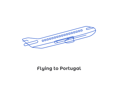 Flying to Portugal blue stroke mirror conf illustration plane tap portugal