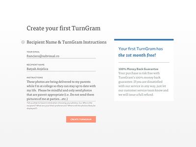 Create TurnGram Form text input input form blue desktop orange color type typography product ui