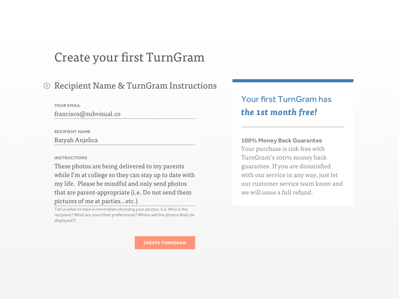 Create TurnGram Form text input input form blue desktop orange color type typography product ui