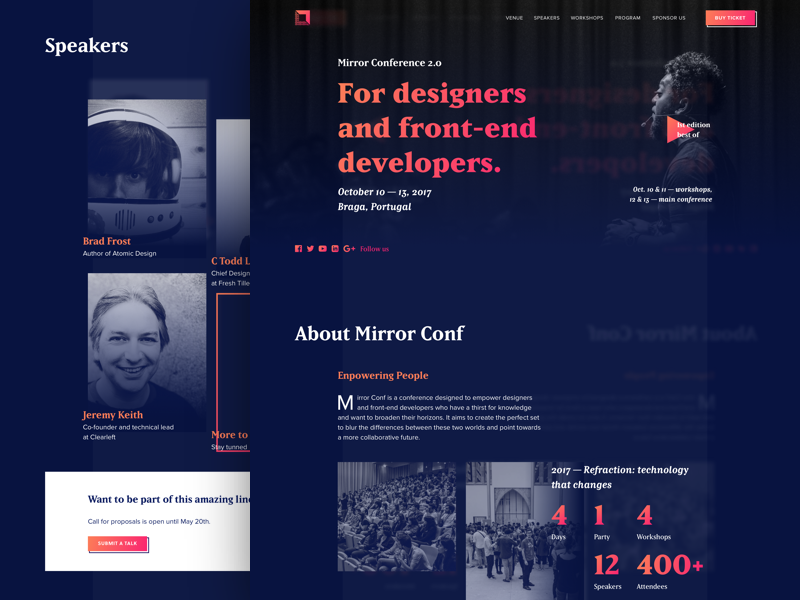 Mirror Conf 2017 Website website conference design event front-end ticket ui mirror reflection parallax perspective background