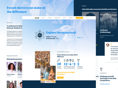 iMed Conference event website design conference yellow blue health ui