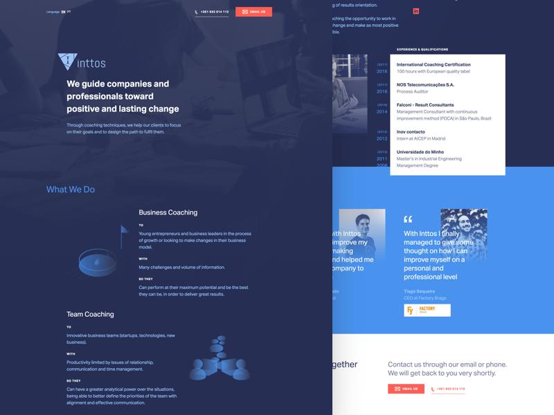 Inttos Website illustration dark white blue coaching coach website grain salt and pepper gradient background ui