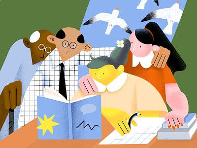 Homework - Illustration digital illustration art assessment reading debut child knowledge experience friends design support notebooks procreate students book homework school illustration arounda graphic design