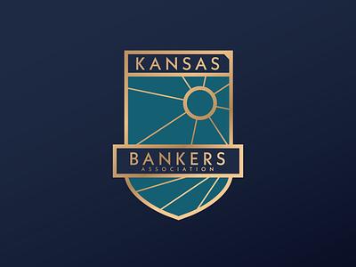 Kansas Bankers Association gold foil bison buffalo banking shield kansas