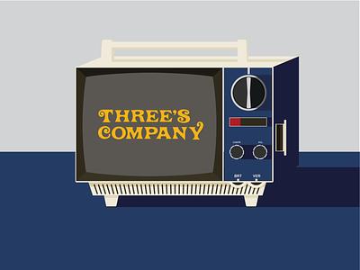 Three's Company vintage illustration portable tv tv
