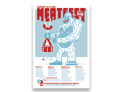 Meatfest 2018 gig gig poster concert poster drums thumbsup cookout grill yeti meatfest